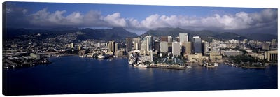 Buildings at the waterfront, Honolulu, Hawaii, USA Canvas Print #PIM10360
