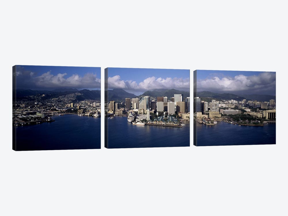 Buildings at the waterfront, Honolulu, Hawaii, USA by Panoramic Images 3-piece Canvas Art
