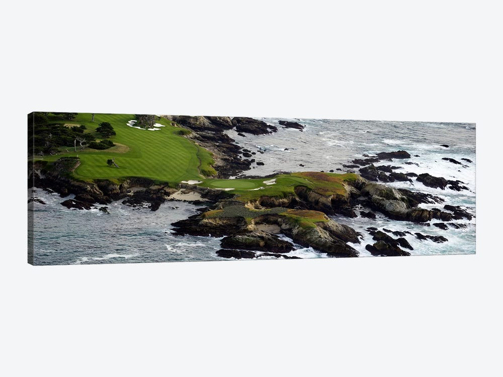 Golf course on an islandPebble Beach Golf Links, Pebble Beach, Monterey County, California, USA by Panoramic Images 1-piece Canvas Wall Art