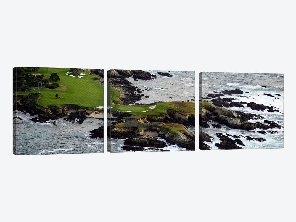 Golf course on an islandPebble Beach Golf Links, Pebble Beach, Monterey County, California, USA by Panoramic Images 3-piece Canvas Art