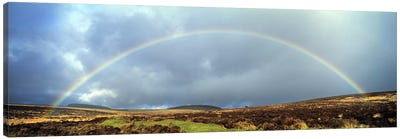 Rainbow above Fernworthy Forest, Dartmoor, Devon, England Canvas Art Print