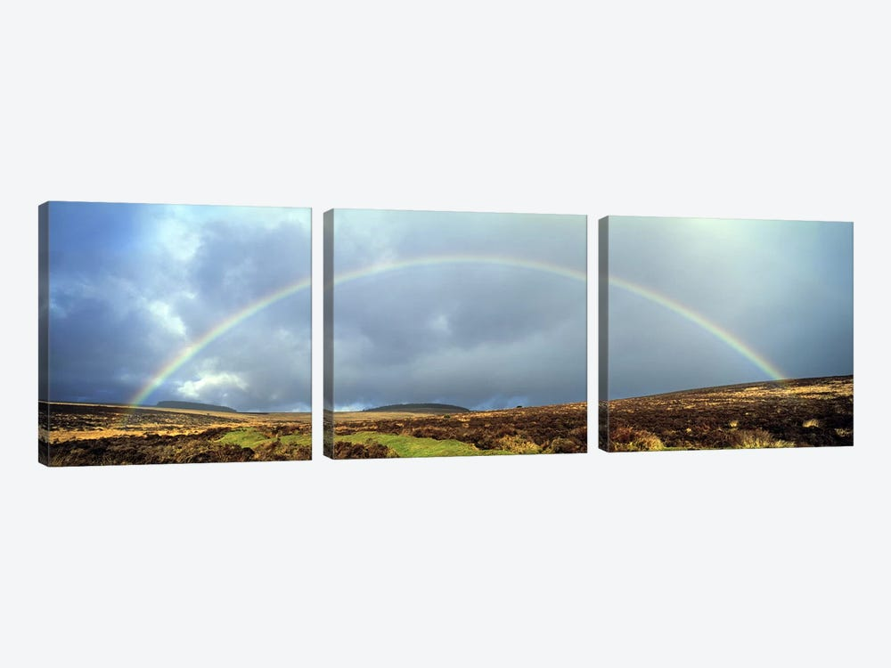 Rainbow above Fernworthy Forest, Dartmoor, Devon, England 3-piece Art Print