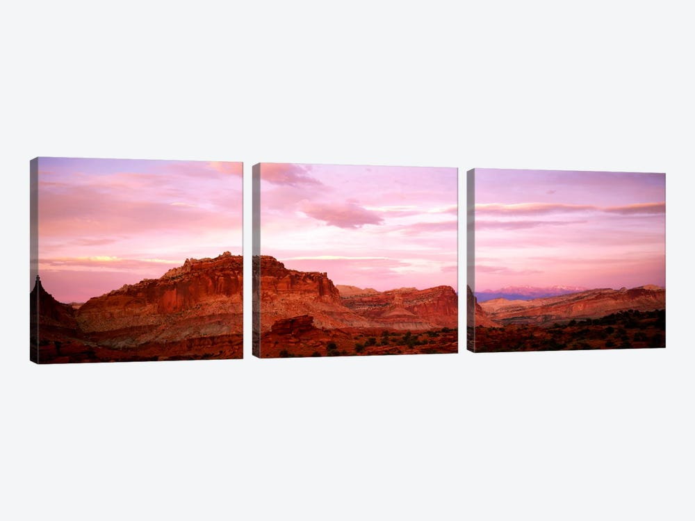 Dusk Panorama Point Capital Reef National Park UT by Panoramic Images 3-piece Canvas Artwork