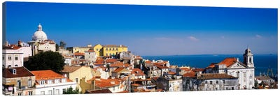 Coastal Cityscape, Alfama District, Lisbon, Portugal Canvas Art Print