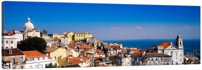 Coastal Cityscape, Alfama District, Lisbon, Portugal Canvas Art Print