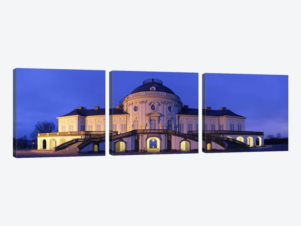 Castle Solitude lit up at night, Stuttgart, Baden-Wurttemberg, Germany by Panoramic Images 3-piece Canvas Art