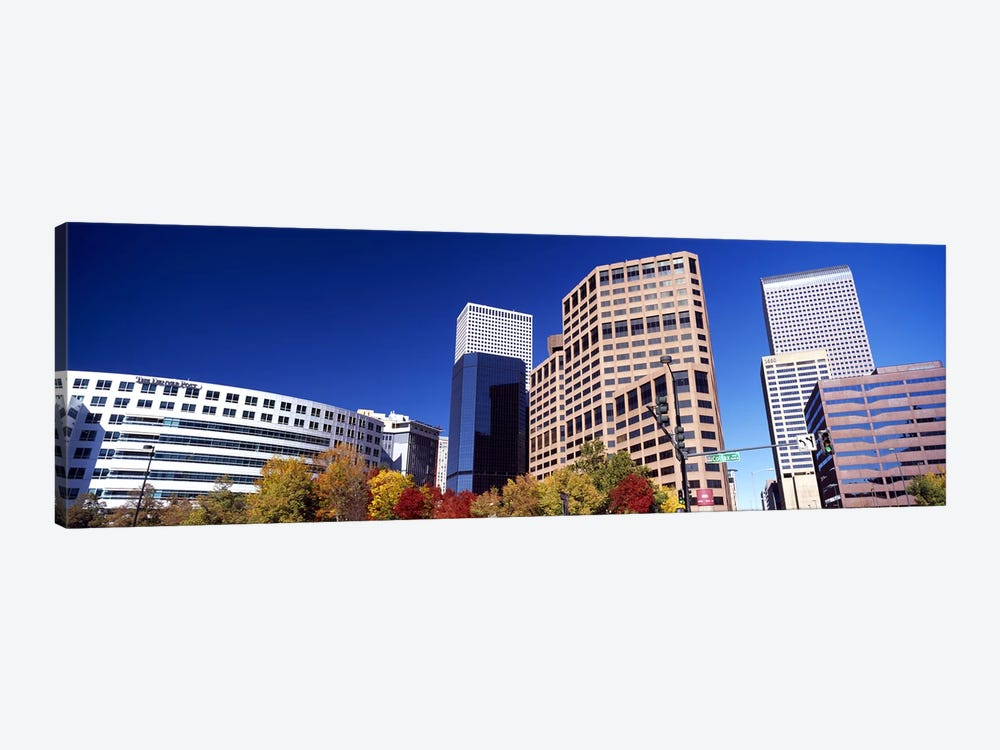 Low angle view of skyscrapers, Downtown Denver, Denver, Colorado, USA 2011 by Panoramic Images 1-piece Canvas Art Print