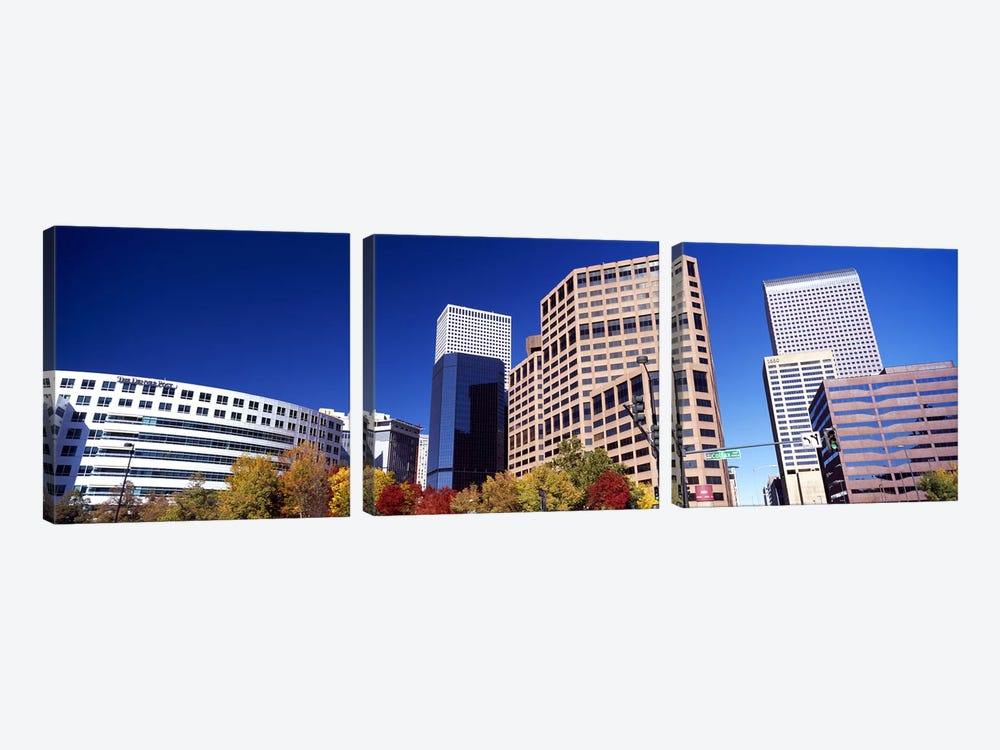 Low angle view of skyscrapers, Downtown Denver, Denver, Colorado, USA 2011 by Panoramic Images 3-piece Art Print