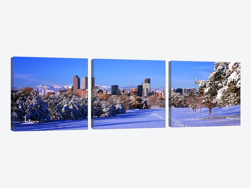 Denver city in winter, Colorado, USA 2011 by Panoramic Images 3-piece Canvas Wall Art