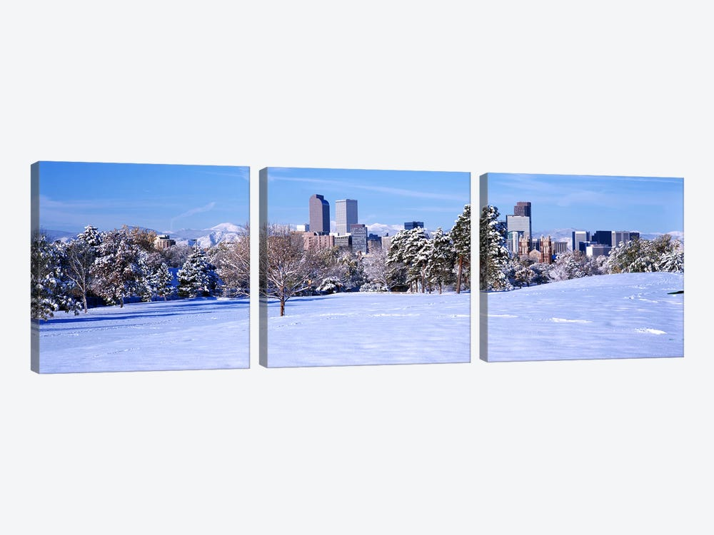 Denver city in winter, Colorado, USA 2011 #2 by Panoramic Images 3-piece Canvas Art Print