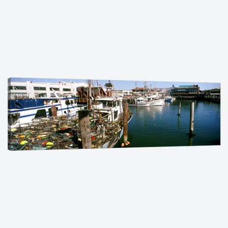 Fishing boats at a dock, Fisherman's Wharf, San Francisco, California, USA Canvas Print #PIM10417} by Panoramic Images Canvas Wall Art