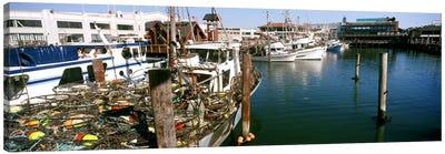 Fishing boats at a dock, Fisherman's Wharf, San Francisco, California, USA Canvas Print #PIM10417