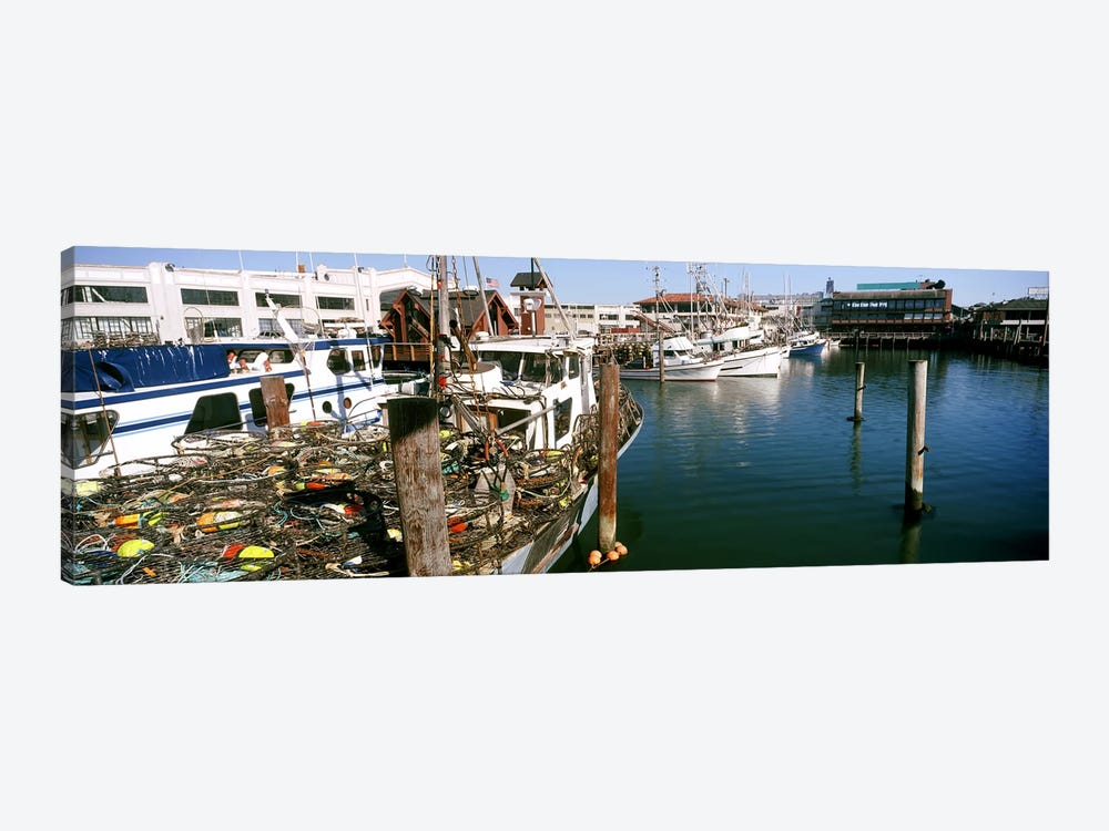 Fishing boats at a dock, Fisherman's Wharf, San Francisco, California, USA by Panoramic Images 1-piece Canvas Print