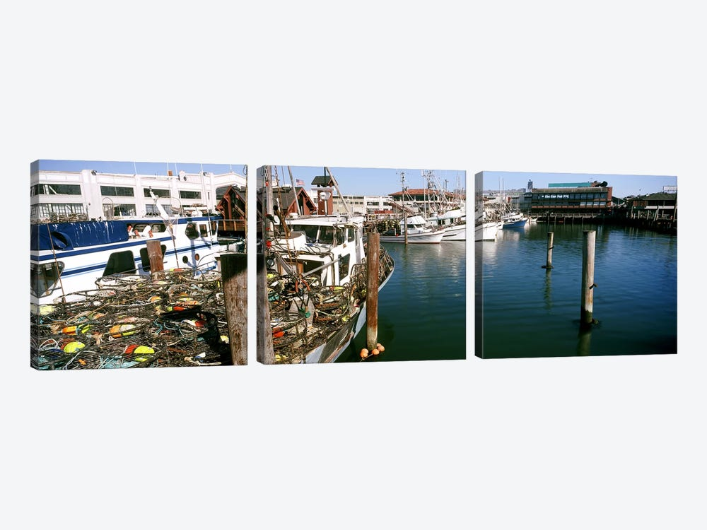 Fishing boats at a dock, Fisherman's Wharf, San Francisco, California, USA by Panoramic Images 3-piece Canvas Art Print