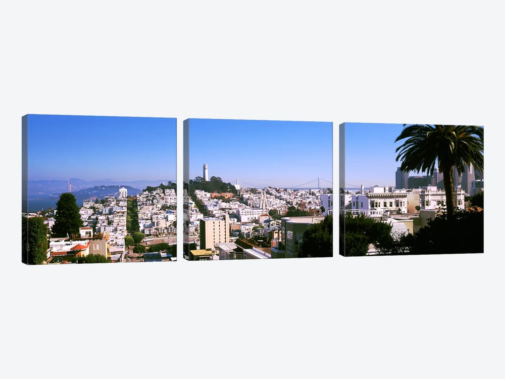 High angle view of buildings in a city, Russian Hill, San Francisco, California, USA by Panoramic Images 3-piece Canvas Wall Art