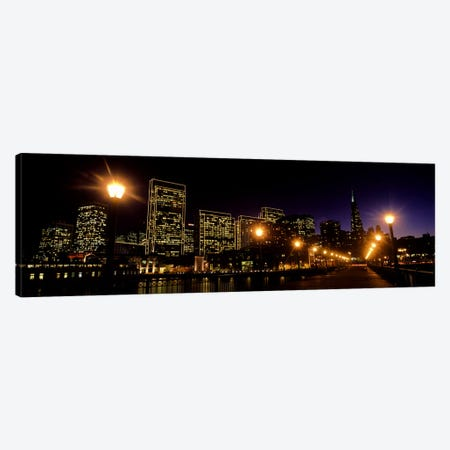 Buildings at the waterfront lit up at night, San Francisco, California, USA #6 Canvas Print #PIM10424} by Panoramic Images Canvas Print