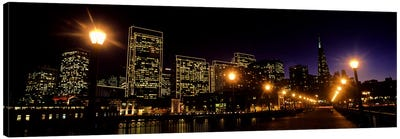 Buildings at the waterfront lit up at night, San Francisco, California, USA #6 Canvas Print #PIM10424