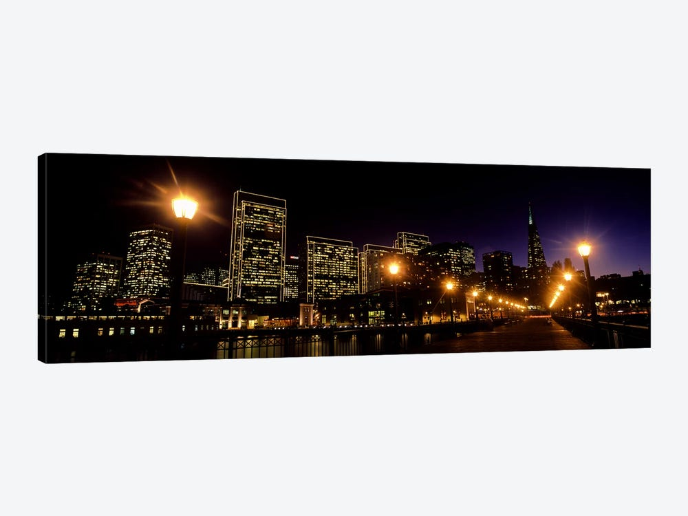 Buildings at the waterfront lit up at night, San Francisco, California, USA #6 by Panoramic Images 1-piece Canvas Art Print