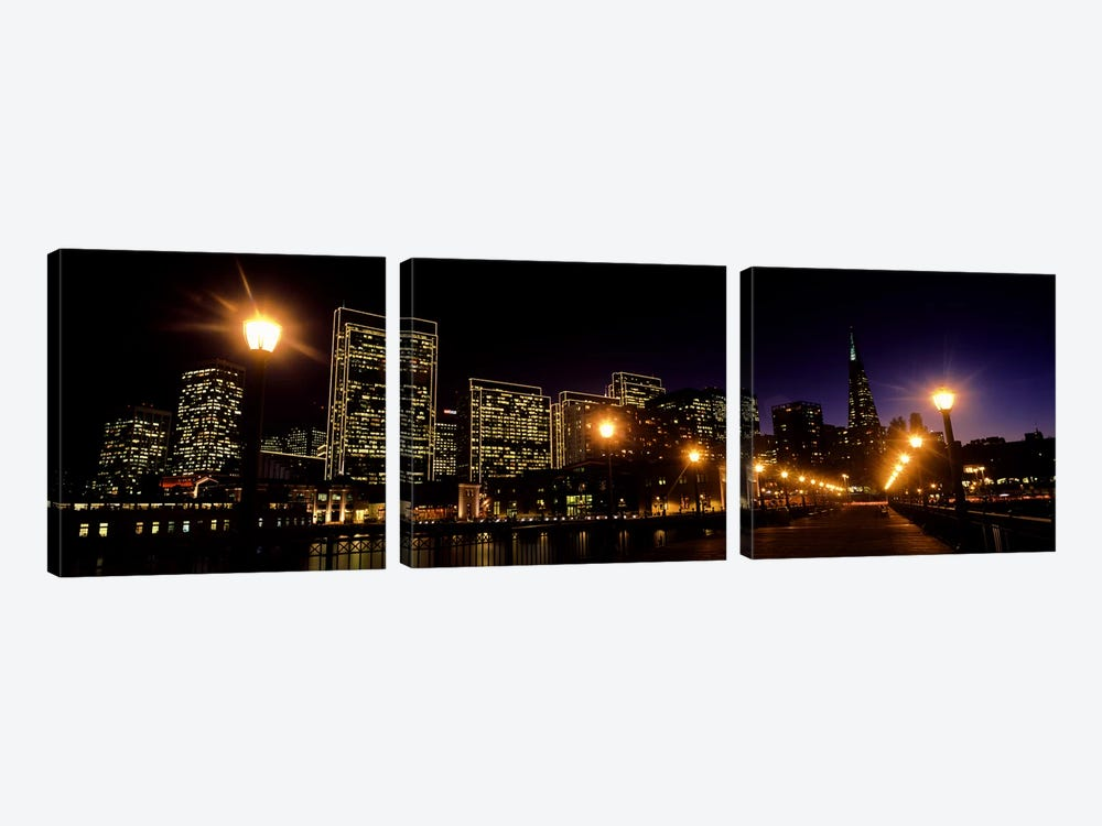 Buildings at the waterfront lit up at night, San Francisco, California, USA #6 by Panoramic Images 3-piece Canvas Art Print
