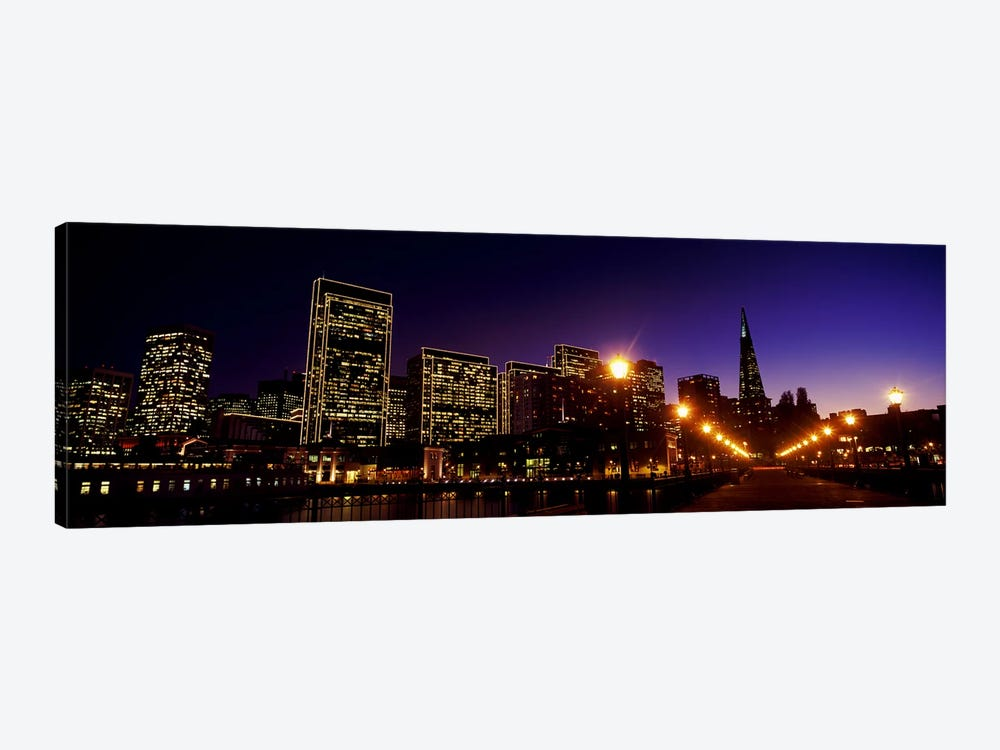 Buildings at the waterfront lit up at dusk, San Francisco, California, USA by Panoramic Images 1-piece Canvas Artwork