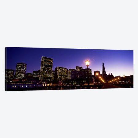 Buildings at the waterfront lit up at dusk, San Francisco, California, USA #2 Canvas Print #PIM10426} by Panoramic Images Canvas Art Print