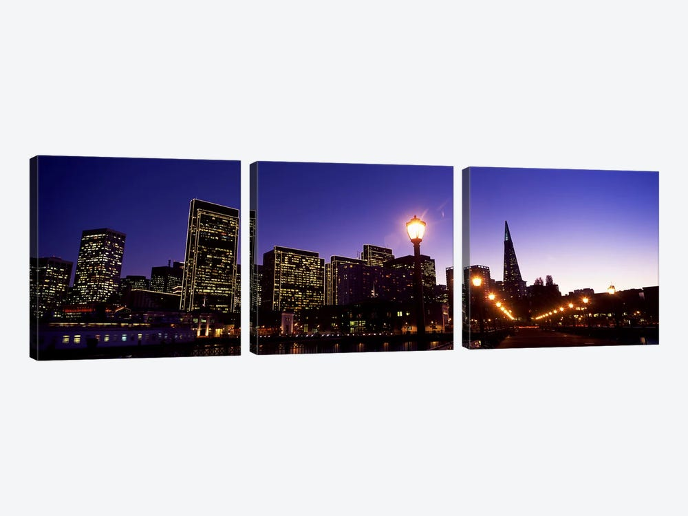 Buildings at the waterfront lit up at dusk, San Francisco, California, USA #2 by Panoramic Images 3-piece Canvas Art Print