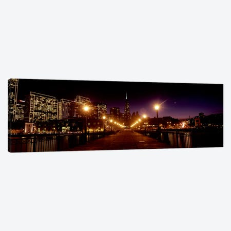 Buildings at the waterfront lit up at night, San Francisco, California, USA #7 Canvas Print #PIM10427} by Panoramic Images Canvas Art Print