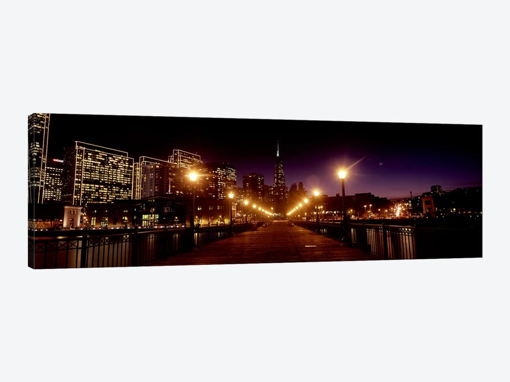 Buildings at the waterfront lit up at night, San Francisco, California, USA #7 by Panoramic Images 1-piece Canvas Artwork