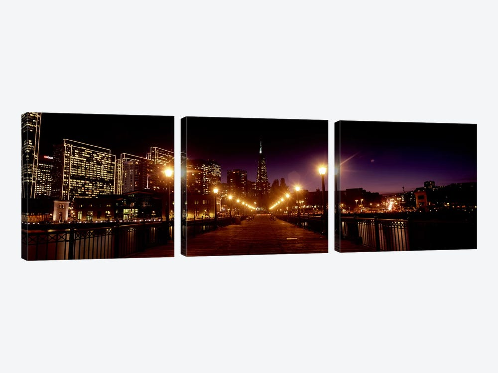 Buildings at the waterfront lit up at night, San Francisco, California, USA #7 by Panoramic Images 3-piece Canvas Wall Art