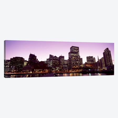 Buildings at the waterfront lit up at dusk, San Francisco, California, USA #3 Canvas Print #PIM10428} by Panoramic Images Canvas Artwork
