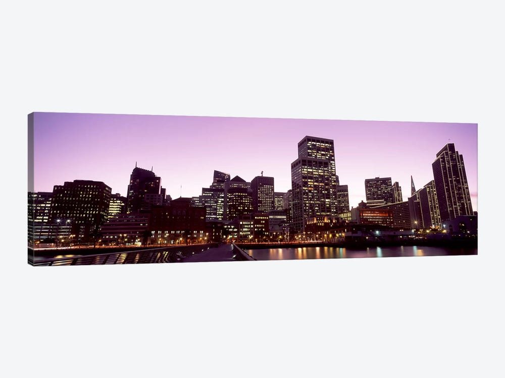 Buildings at the waterfront lit up at dusk, San Francisco, California, USA #3 by Panoramic Images 1-piece Canvas Art Print