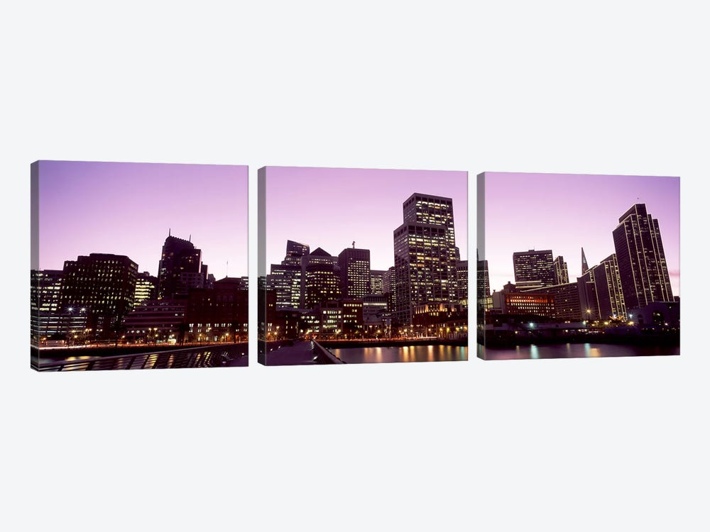 Buildings at the waterfront lit up at dusk, San Francisco, California, USA #3 by Panoramic Images 3-piece Art Print
