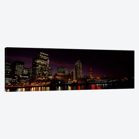 Buildings at the waterfront lit up at night, San Francisco, California, USA #8 Canvas Print #PIM10429} by Panoramic Images Canvas Artwork