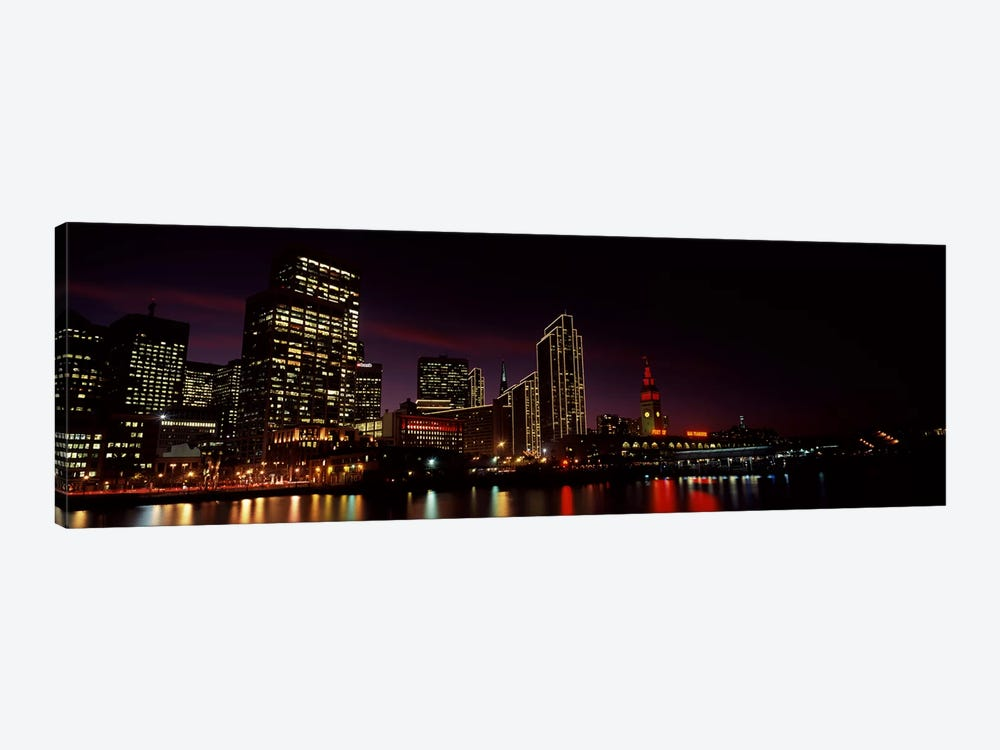 Buildings at the waterfront lit up at night, San Francisco, California, USA #8 by Panoramic Images 1-piece Canvas Wall Art