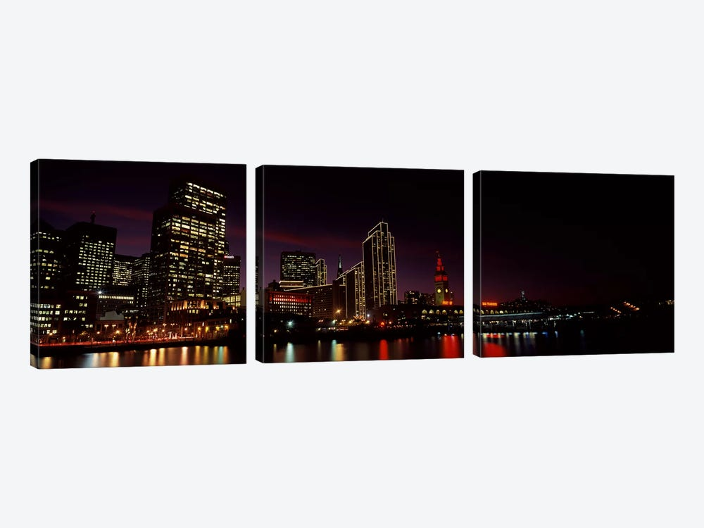 Buildings at the waterfront lit up at night, San Francisco, California, USA #8 by Panoramic Images 3-piece Canvas Art