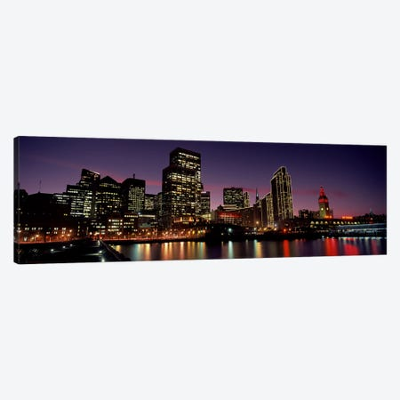 Buildings at the waterfront lit up at dusk, San Francisco, California, USA Canvas Print #PIM10430} by Panoramic Images Canvas Print
