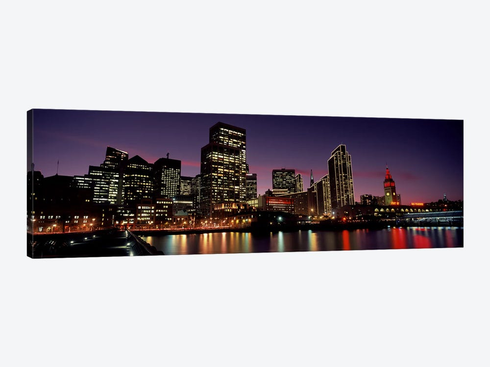 Buildings at the waterfront lit up at dusk, San Francisco, California, USA by Panoramic Images 1-piece Canvas Wall Art