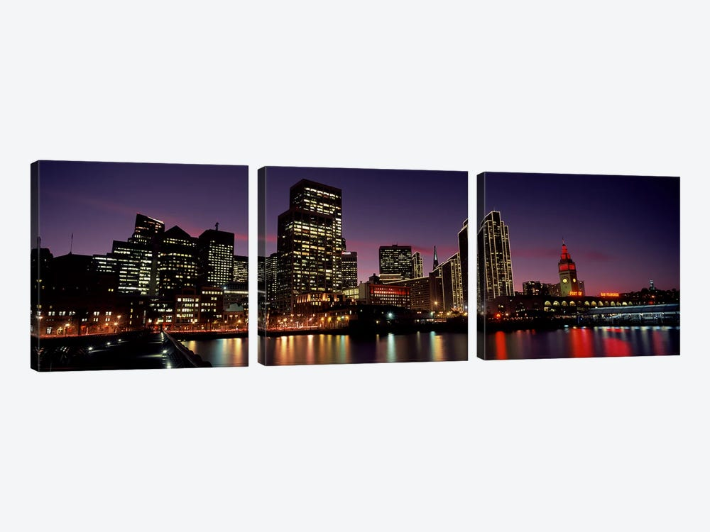 Buildings at the waterfront lit up at dusk, San Francisco, California, USA by Panoramic Images 3-piece Canvas Wall Art