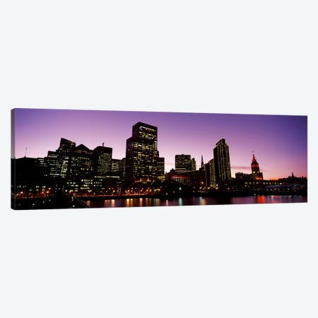 Buildings at the waterfront lit up at dusk, San Francisco, California, USA #2 Canvas Print #PIM10431} by Panoramic Images Canvas Art Print