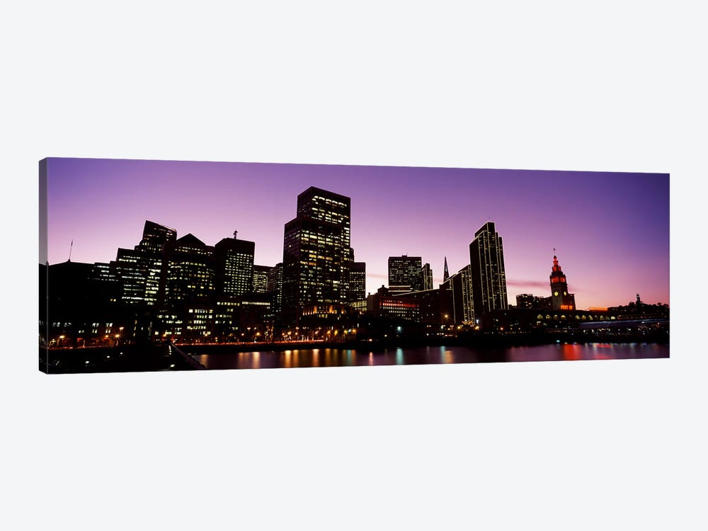 Buildings at the waterfront lit up at dusk, San Francisco, California, USA #2 by Panoramic Images 1-piece Art Print