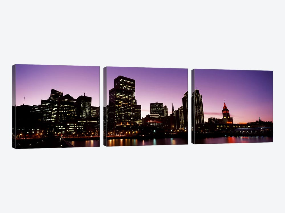 Buildings at the waterfront lit up at dusk, San Francisco, California, USA #2 by Panoramic Images 3-piece Canvas Print