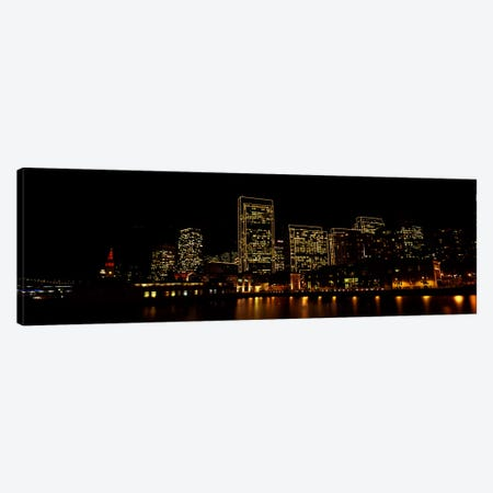 Buildings at the waterfront lit up at night, San Francisco, California, USA #9 Canvas Print #PIM10432} by Panoramic Images Canvas Art Print