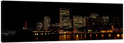 Buildings at the waterfront lit up at night, San Francisco, California, USA #9 Canvas Art Print