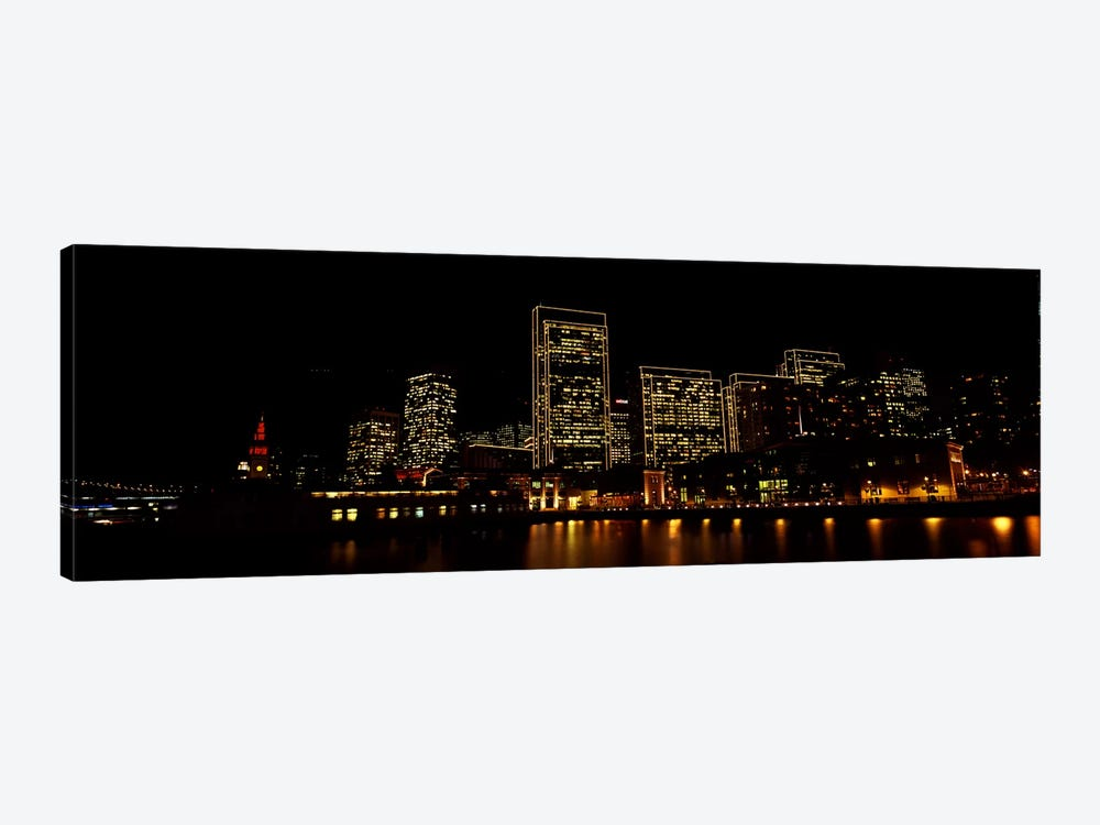Buildings at the waterfront lit up at night, San Francisco, California, USA #9 by Panoramic Images 1-piece Canvas Wall Art