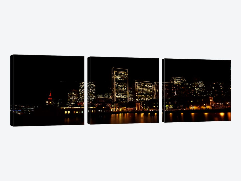 Buildings at the waterfront lit up at night, San Francisco, California, USA #9 by Panoramic Images 3-piece Canvas Art