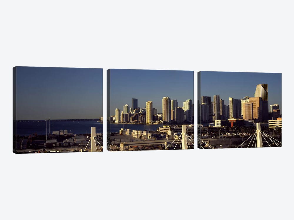 Buildings in a city, Miami, Florida, USA by Panoramic Images 3-piece Canvas Print
