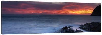 Coast at sunset, L'ile-Rousse, Haute-Corse, Corsica, France Canvas Art Print