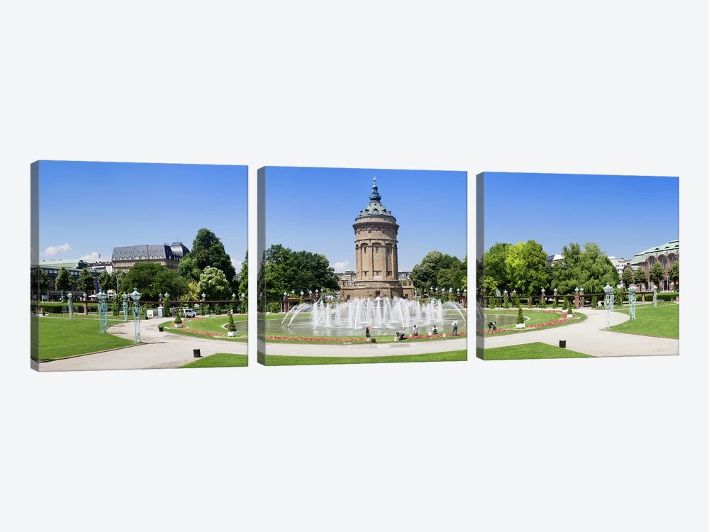Water tower in a park, Wasserturm, Mannheim, Baden-Wurttemberg, Germany by Panoramic Images 3-piece Canvas Art