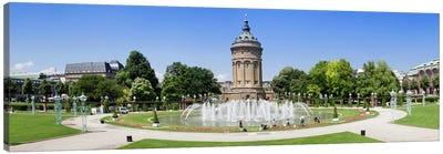 Water tower in a park, Wasserturm, Mannheim, Baden-Wurttemberg, Germany Canvas Art Print
