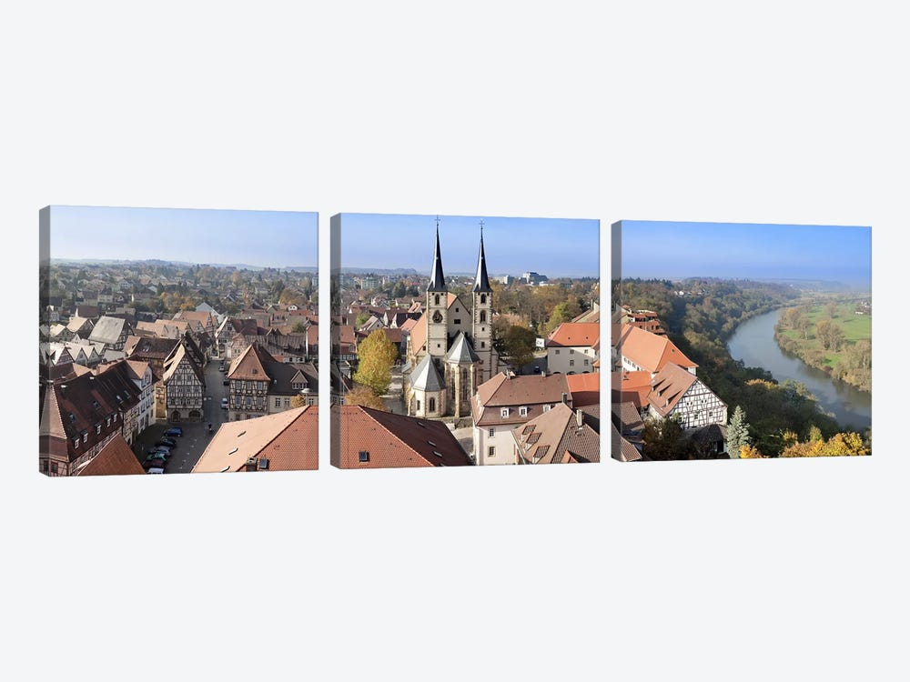 Old town viewed from Blue Tower, Bad Wimpfen, Baden-Wurttemberg, Germany by Panoramic Images 3-piece Canvas Art Print